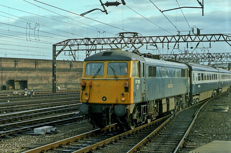 87101 'Stephenson' pulls into Crewe with a down passenger service on 25 November 1982