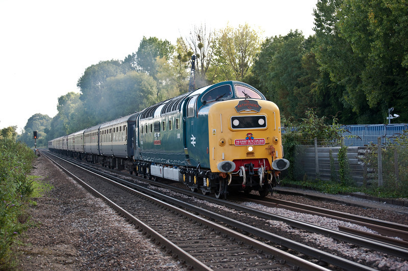 55022 powers through Shawford with the return leg of the 'Dorset Deltic' railtour on 3 September 2011