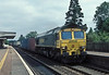 66532 passes Pangbourne with 4M61, the Southampton to Trafford Park Freightliner service on 3 August 2006