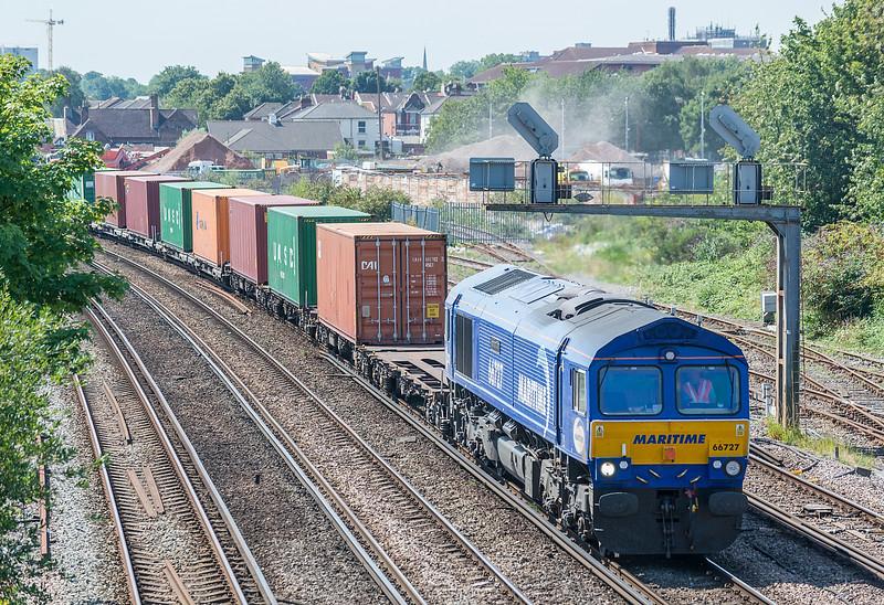 66727 4M19 Southampton W Docks - East Midlands Gateway.<br />  St. Denys 31 July 2020