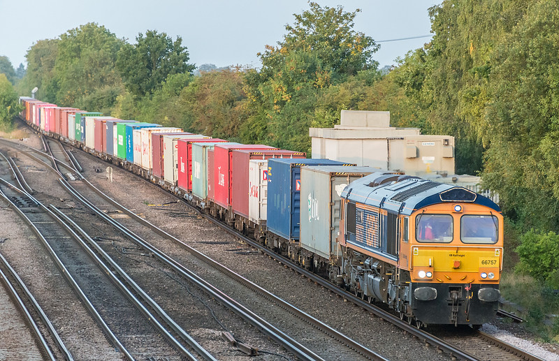 66757 passing with Southampton W Docks to Doncaster I Port<br /> Worting Junction 17 September 2020