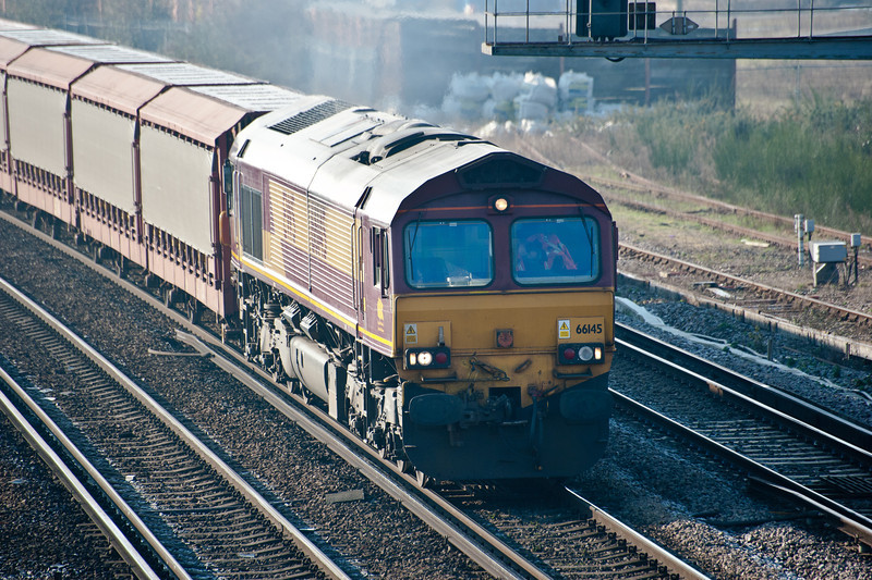 66145 powers through St Denys on 11 February 2012 with empty car carriers from Southampton to Washwood Heath