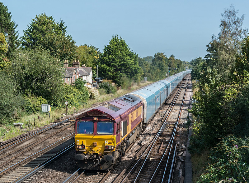 66069 on Morris Cowley to Southampton E Docks<br /> Worting Junction 17 September 2020