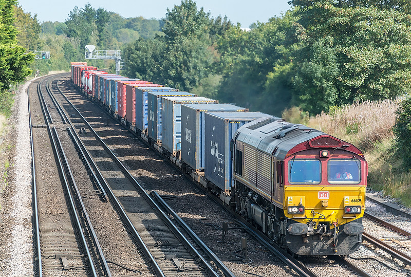 66139 with Wakefield to Southampton W Docks<br /> Worting Junction 17 September 2020