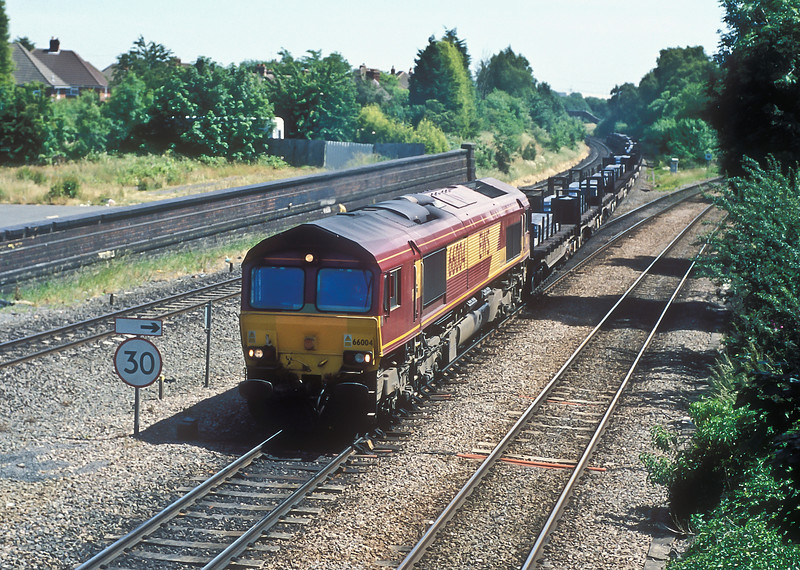 66004 passes Water Orton with a train of steel slabs on 22 June 2005