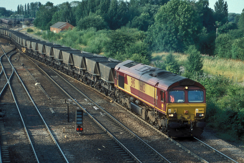 66103 pulls a loaded rake of MGR wagons through Milford Junction on 6 July 2006