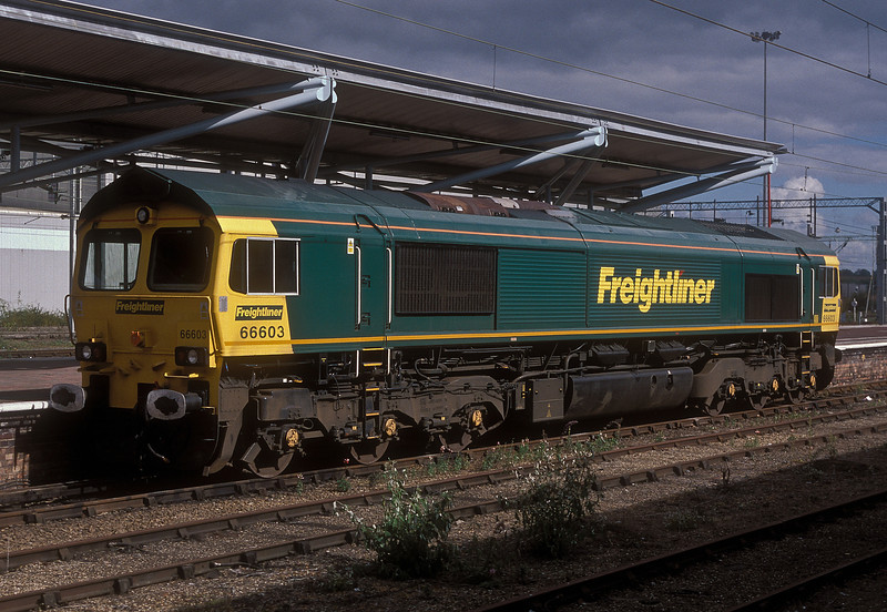 In a rare moment of full sun 66603 is stabled in the south bays at Rugby on 23 September 2002