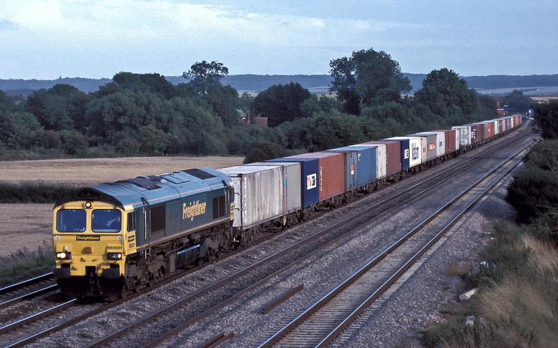 66501 with the Southampton to Garston Freightliner service passes Cholsey on 18 August 2004
