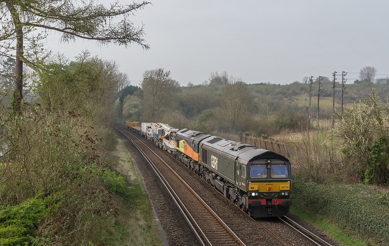 GBRf 66779 + Colas 66847 St Cross, Winchester 1 April 2021 with 6Y48 Eastleigh to Hoo Junction