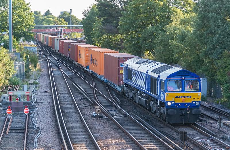 66727 4O19 East Midlands Gateway to Southampton W Docks.<br />  St. Denys 31 July 2020