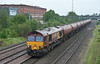 66002 heads north through Burton on Trent with VTG tanks on 2 June 2012