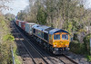 66773 passes St. Cross, Winchester on 16 April 2021 with 4O46 trafford Park to Southampton Western Docks