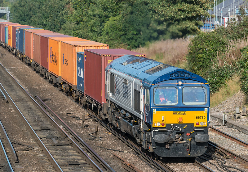 66780 with 4O69 Hams Hall to Southampton W Dock<br /> Worting Junction 17 September 2020