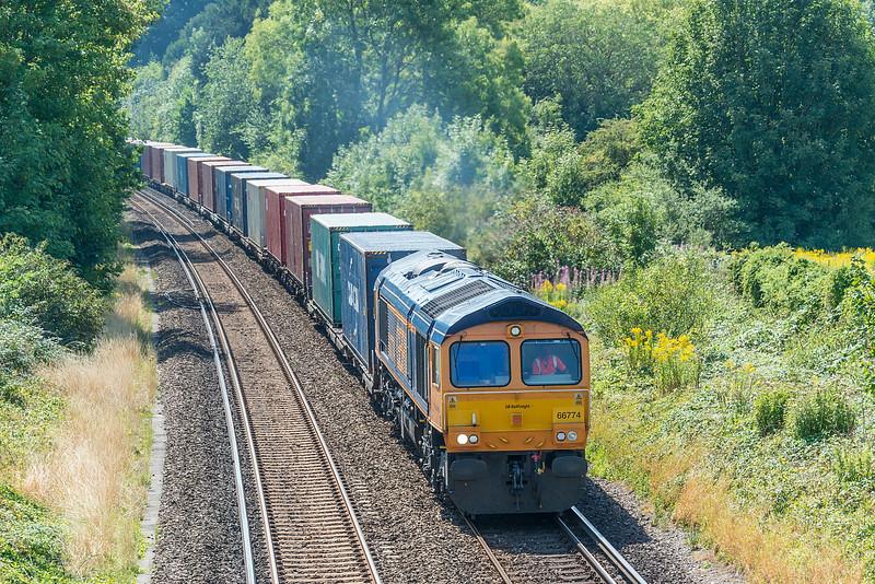 66774  4M19 Southampton W Docks - East Midlands Gateway<br /> St. Cross, Winchester 12 August 2020