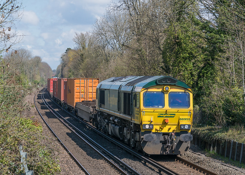 66955 with 4O14 Garston to Southampton MCT, St. Cross, Winchester 16 April 2021
