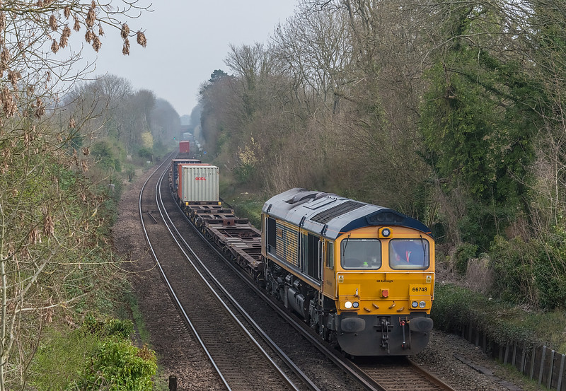 66748 St Cross, Winchester 1 April 2021 with 4O46 Trafford Park to Southampton Western Docks