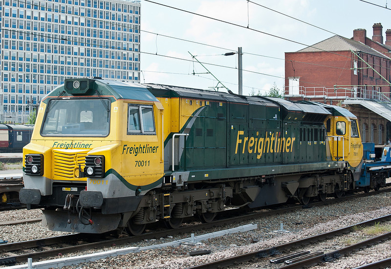 70011 top and tails a short Engineer's train at Crewe on 1 June 2012