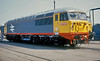 Waiting for release from Crewe Works on 4 July 1987 was 56049, wearing a fresh coat of 'red stripe railfreight' livery