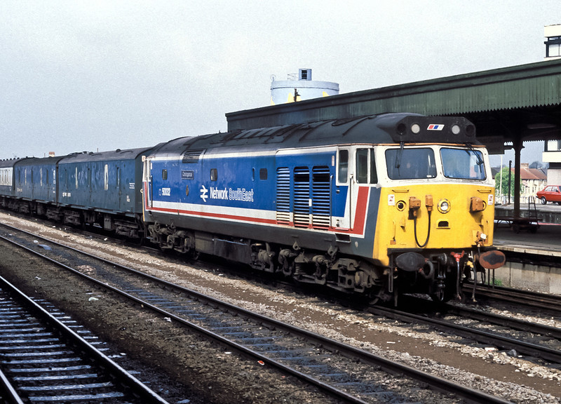 50032 is a little off the beaten track at Cardiff Central on 5 May 1988 with the daily 50 turn to Wales and back