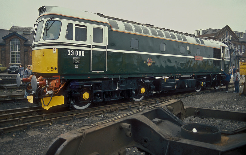 One of the prime exhibits during the Eastleigh BREL Open Day on 12 October 1986 was 33008 'Eastleigh'