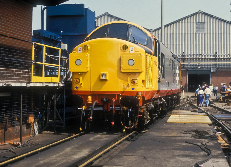 You could still smell the fresh paint on 37002 at Crewe Works on 4 July 1987 as it waited for testing and release to traffic the following week