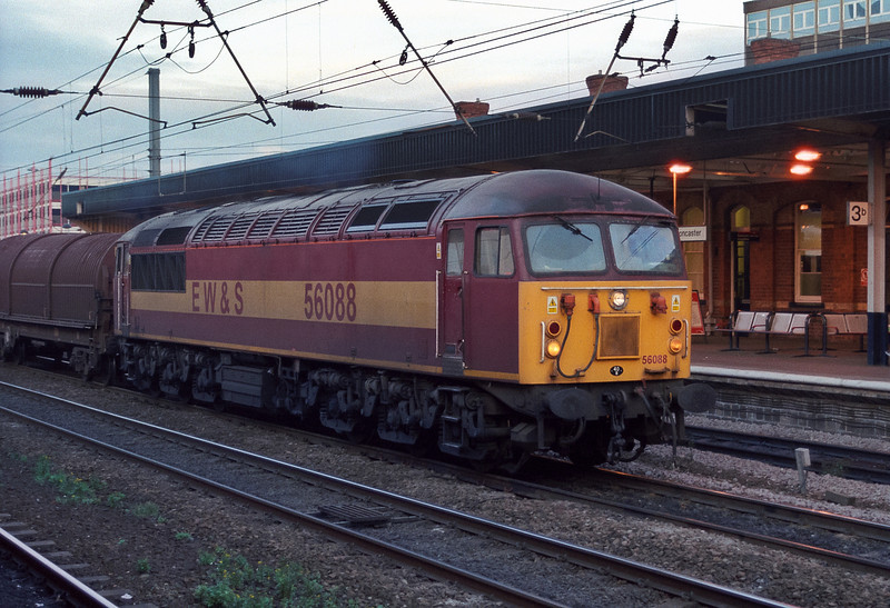 Heading a trainload of steel coil carriers through Doncaster on 28 November 2003 was 56088, probably the last time I saw the class in revenue earning action