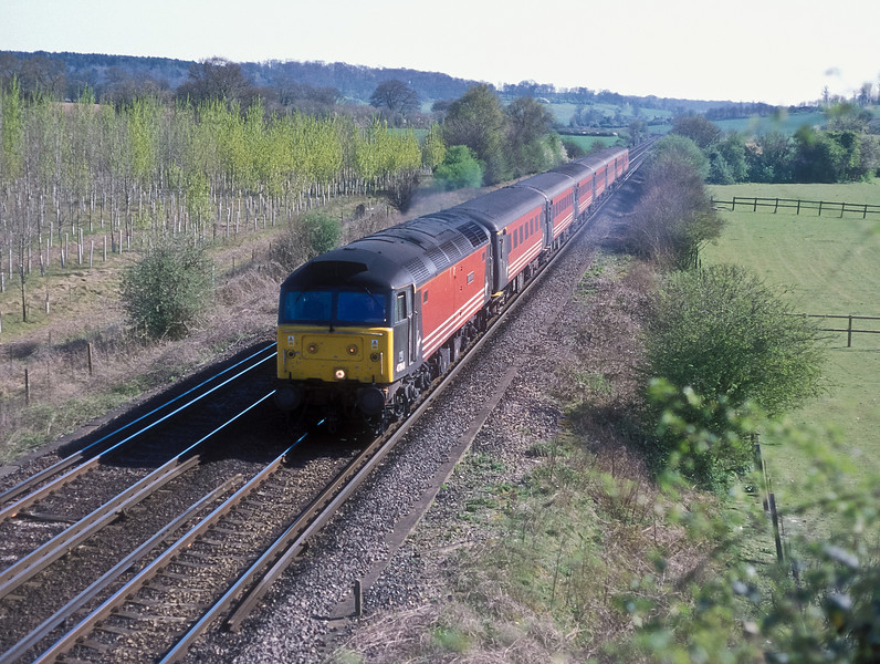 47841 is at Idsworth with a Virgin service from Portsmouth on 7 April 2002