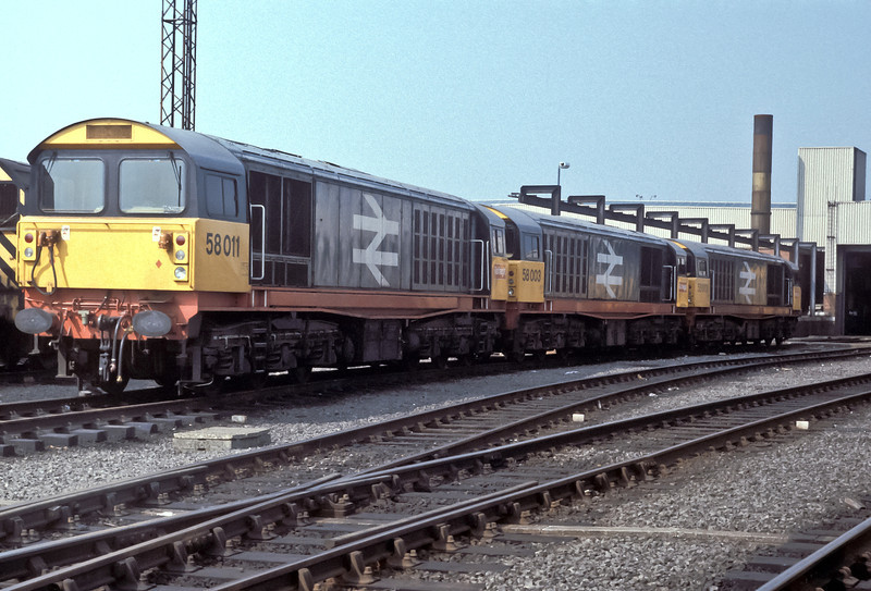 58011, 58003 and 58001 sit outside Toton depot on 21 August 1984