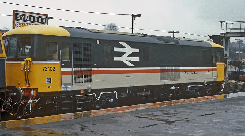 73102 was fresh out of Eastleigh Works when seen at Basingstoke on 22 March 1985