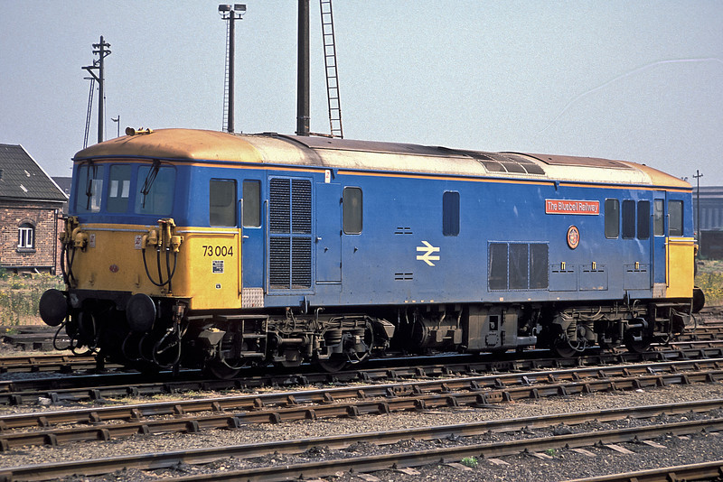 73004 wore a very-much one off blue livery when named 'Bluebell Railway' as seen at Eastleigh in July 1988