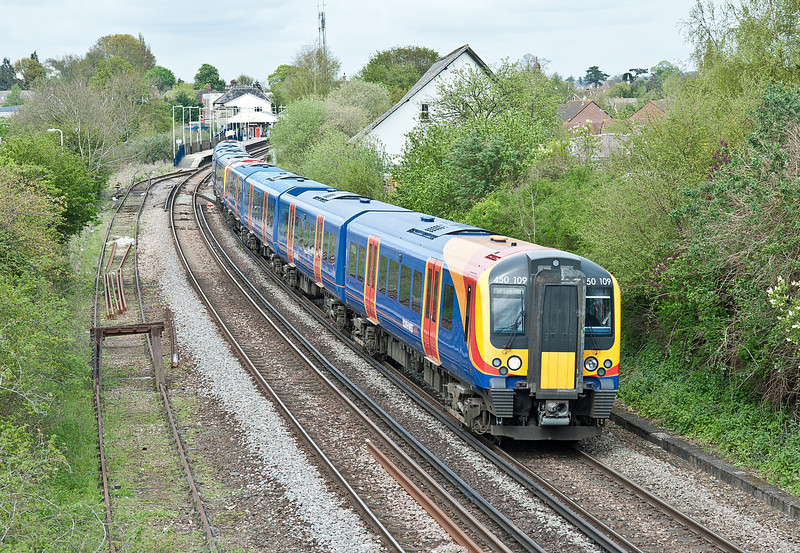 SWT 450109 leads a Portsmouth Harbour service at Petersfield on 5 May 2012