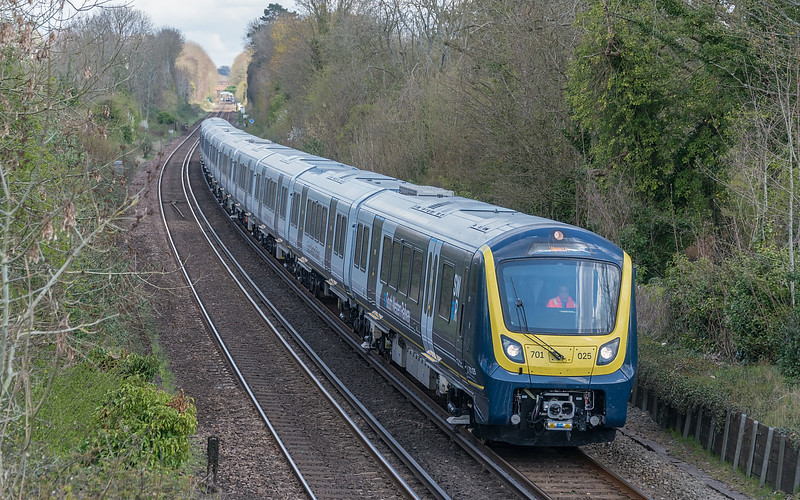 701025 with 5Q51 test train at St. Cross, Winchester 16 April 2021