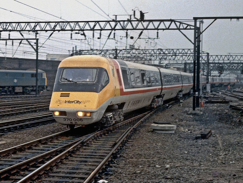 The exposure on my old Zenit camera was about 'f2 @ a fortnight' but at least I kept the nose in focus. 370006 heads the Advanced Passenger Train into Crewe on 29 October 1982 - the only time I ever saw it turn a wheel!