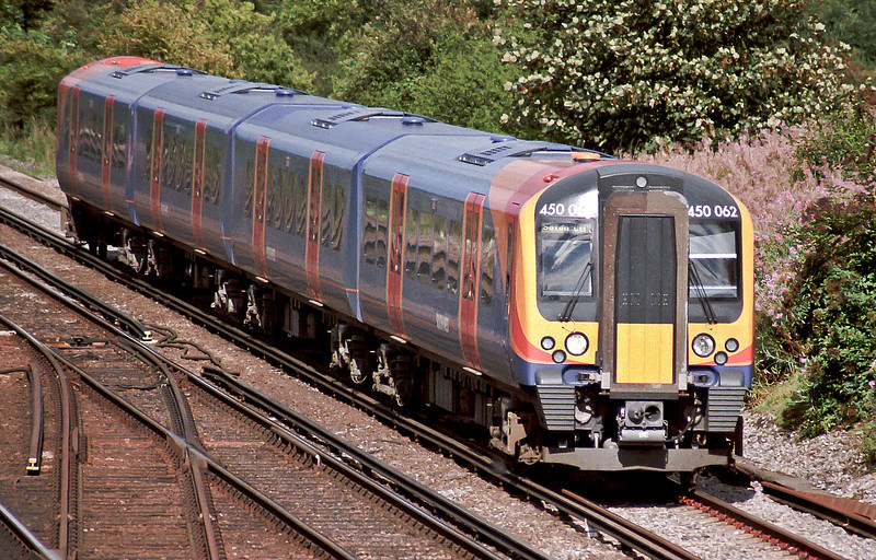 SWT Desiro 450062 passes Worting Junction on 20 August 2004