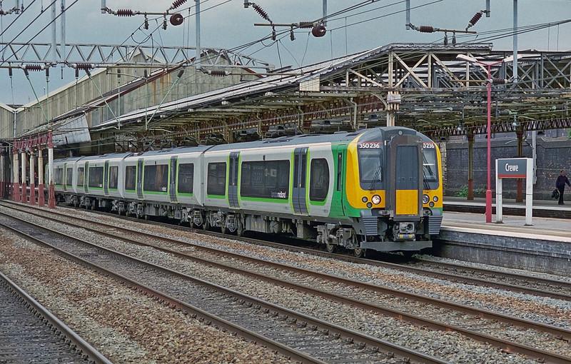 London Midland 350236 pauses at Crewe on 5 June 2009