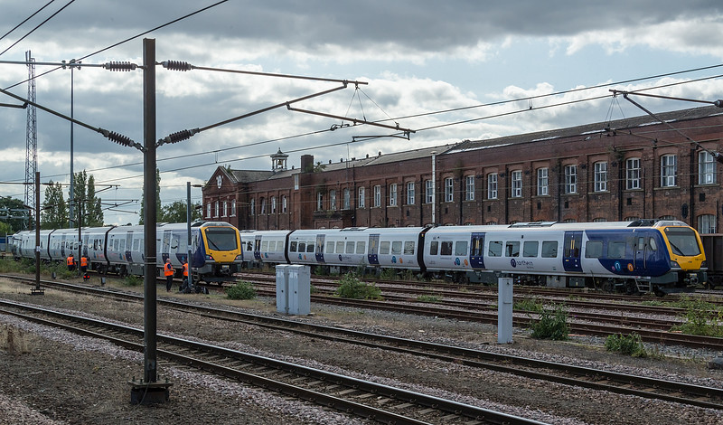 Class 195 being used for crew training at Doncaster 7 September 2019