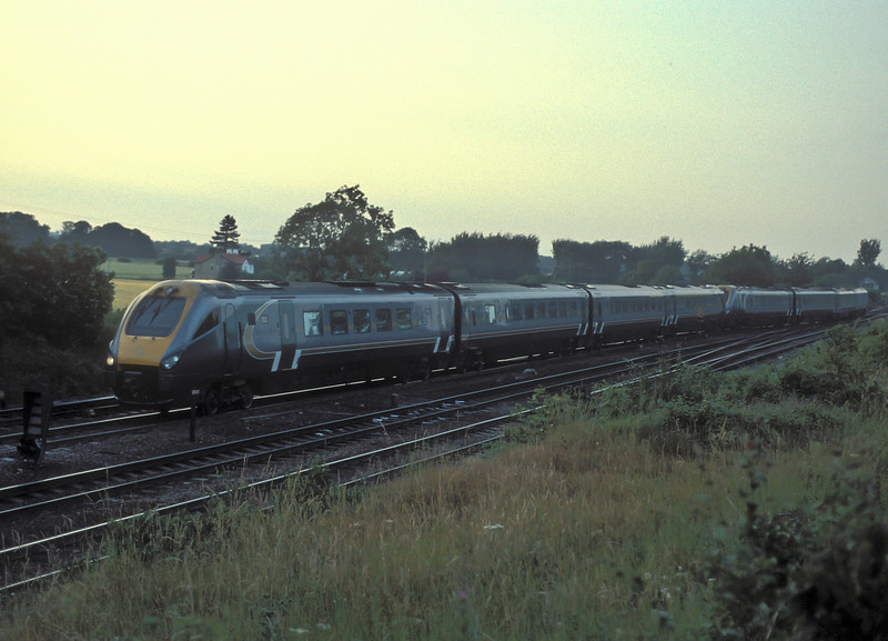 Hull Trains 222103 and 222104 head empty past Milford Junction at 8:30 in the evening of 6 July 2006