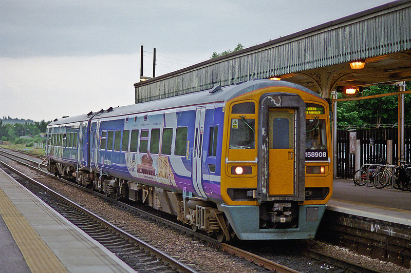 Northern-branded 158908 pauses at Chesterfield with a Nottingham to Leeds service on 5 June 2009