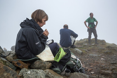 Fleetwith Pike - Libby, Ian & Bill in the mist