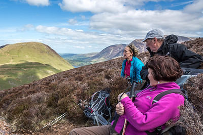 Angela Dave & Dorothy take in the views below Red Pike