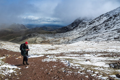 Ian on the approach to Esk Hause
