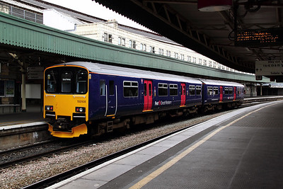 150 108 at Bristol Temple Meads on 20th June 2012 working 2E24 1310 Weymouth to Gloucester