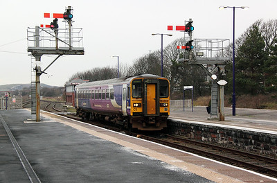 1) 153 304 at Barrow In Furness on 17th January 2012 working 2C38 0907 Sellafield to Lancaster
