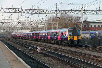 5) 350 406 at Crewe on 27th December 2016 working 5C19 Ardwick TPE Depot to Preston CS. Running via Crewe due to Ordsall Lane Junction blockade and currently the only electrified route between the two locations.