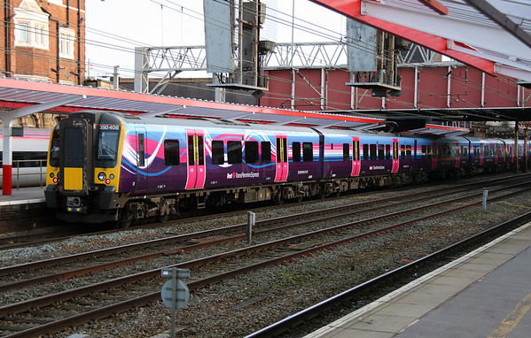5) 350 408 at Crewe on 27th December 2016 working 5C19 Ardwick TPE Depot to Preston CS. Running via Crewe due to Ordsall Lane Junction blockade and currently the only electrified route between the two locations.