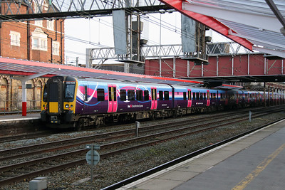 3) 350 408 at Crewe on 27th December 2016 working 5C19 Ardwick TPE Depot to Preston CS. Running via Crewe due to Ordsall Lane Junction blockade and currently the only electrified route between the two locations.