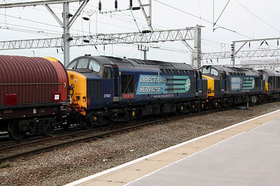 37 601 at Crewe on 14th October 2011 working 6F31 1254 Stoke Marcroft to Warrington Arpley