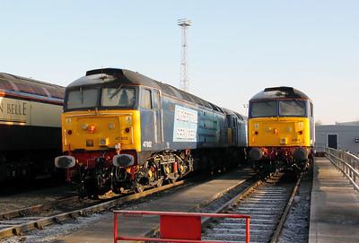 47 802 & 47 828 at Crewe Gresty Bridge Depot on 14th January 2012