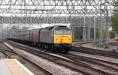 1) 47 237 at Crewe on 14th October 2011 working 5Z32 0925 Carnforth Steamtown to Crewe DRS