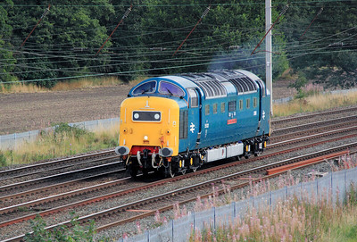 1) 55 022 at Winwick Junction on 4th September 2011 working 0Z76 1500 Crewe DHS to Heywood ELR